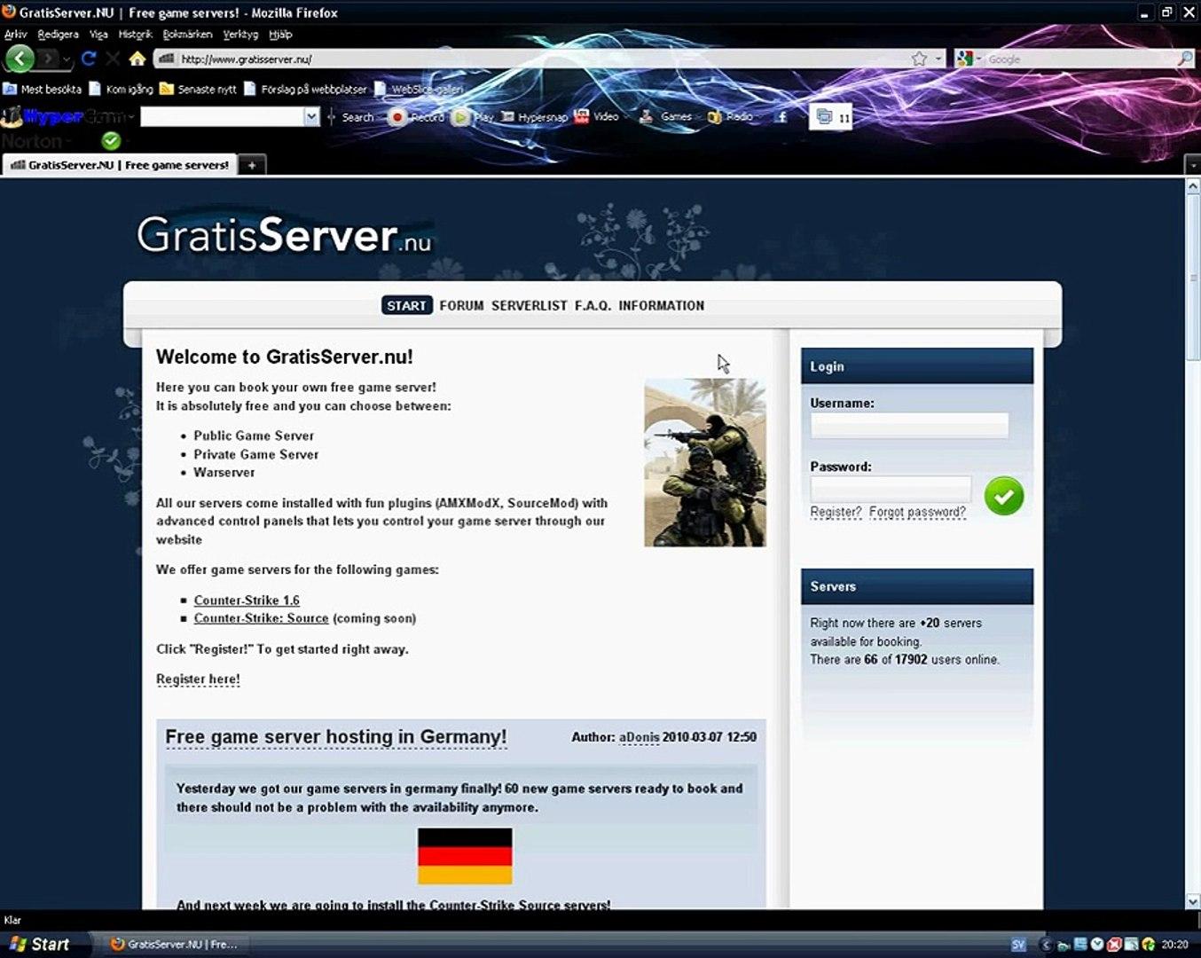 How to host a free Counter-Strike 1 6 server using gratisserver nu