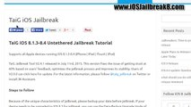How To iOS 8.4 Jailbreak untethered With TaiG v2.4.1, Install Using Full Untethered iPhone 6, 6 plus, 5, 5s, 5c and iPad 3