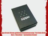 Zippo Brush Chrom geb?rstet Benzinfeuerzeug Ich liebe Dich   Herz / Herzchen   kostenlose Gravur