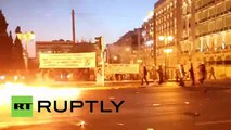 Greece: Molotov cocktails fly, clashes erupt in Athens 15.7.2015
