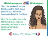 Dialogue 78   English French Anglais Français   Job interview Babysitter   Entretien d'embauche