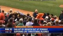 Fan Hit On The Head By Brett Lawrie's Broken Bat At Fenway Park (RAW VIDEO)