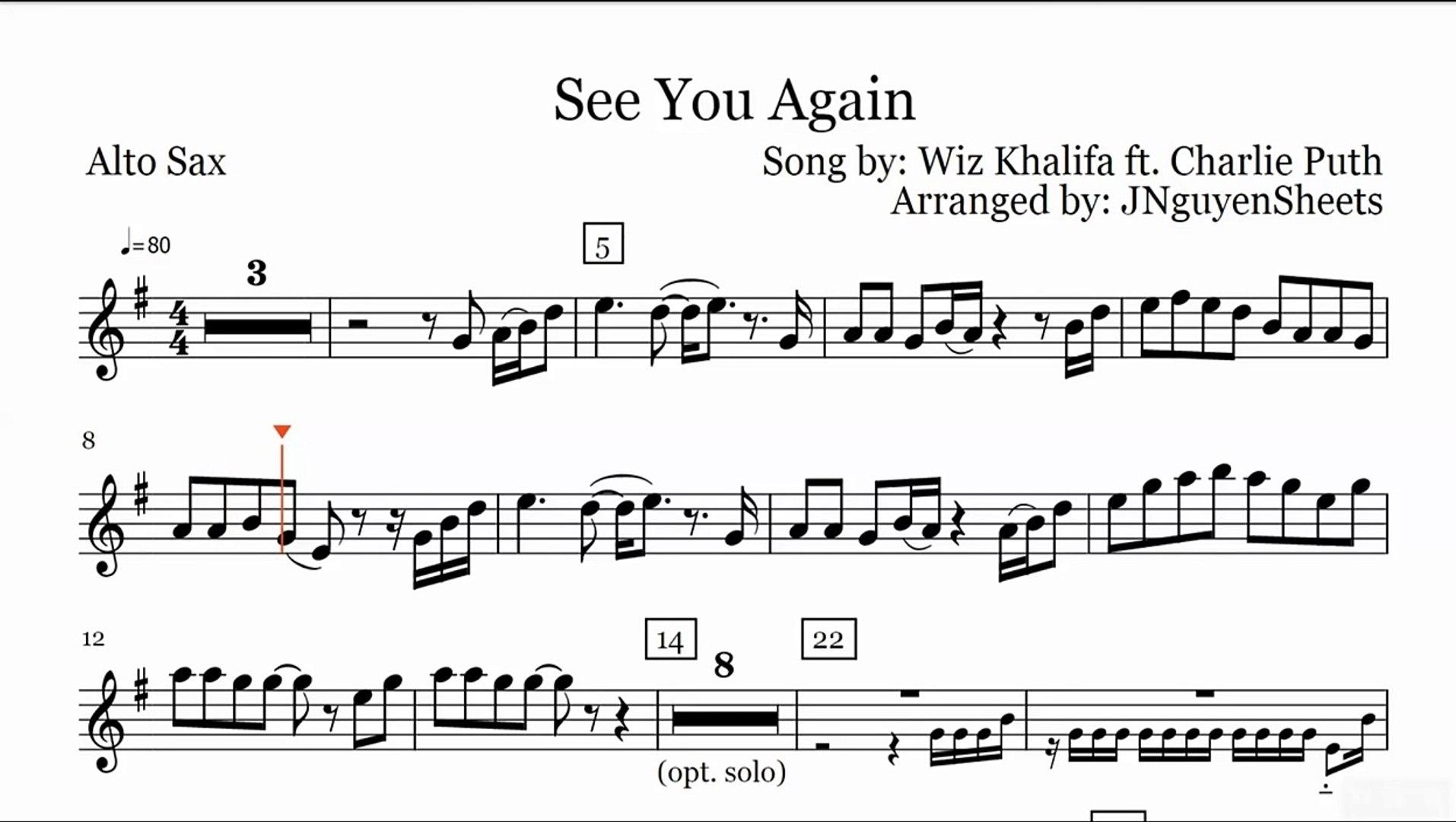 See You Again - Wiz Khalifa ft  Charlie Puth (Saxophone Sheet Music)