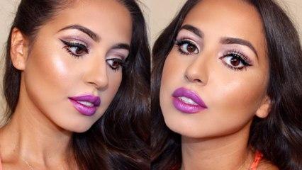 Big Doll Eyes & Purple Lips Makeup Tutorial!