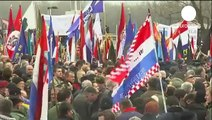 Thousands of Croats rally against Serb Cyrillic signs in Vukovar THE PEOPLE HAVE SPOKEN !