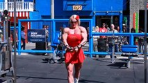 Massive Female Bodybuilder hard gym workout at Muscle Beach