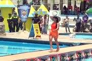 Presentación de candidatas en traje de baño en balneario Agua Tibia.