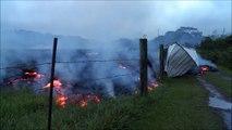 Incredible! Hawaii Kilauea Volcano: Puna Lava Flow [lava flows into shed]