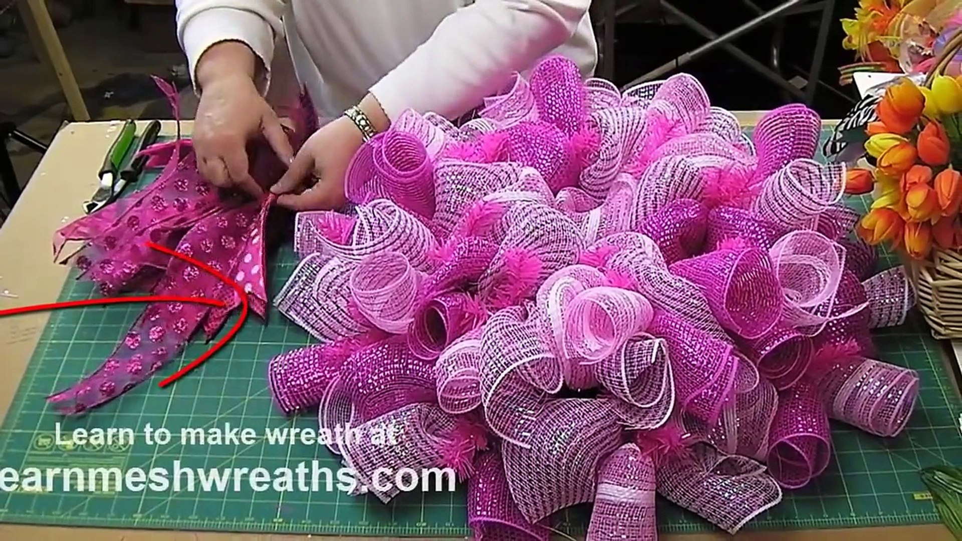 Add Ribbon Streamers To Deco Mesh Wreaths Video Dailymotion