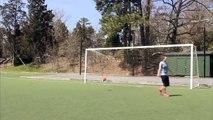 Girl Tricks Football Street Crossbar Challenge (Street Sport)