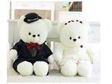 Details 60cm Couple Teddy Bear Wedding Teddy Plush Toys Wedding and Christmas Gifts Best