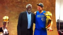 Dirk Nowitzki poses with the Larry O'Brien trophy, MVP trophy & Bill Russell