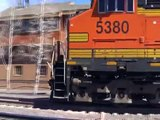 Two BNSF Monster Freight Trains Meeting In Flagstaff, Arizona, USA