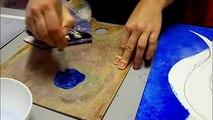 Artiste peintre : création d'une toile peinture acrylique : Zodiaque VE - AlecArt