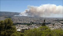 Greece fires  Forest fire rages in Athens suburb