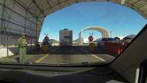 Mexican Standoff, US Border Patrol Checkpoint waits for Rob Trudell's Answer,  Front View