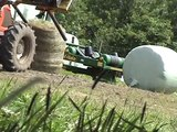 New Holland baling and wrapping round bale haylage