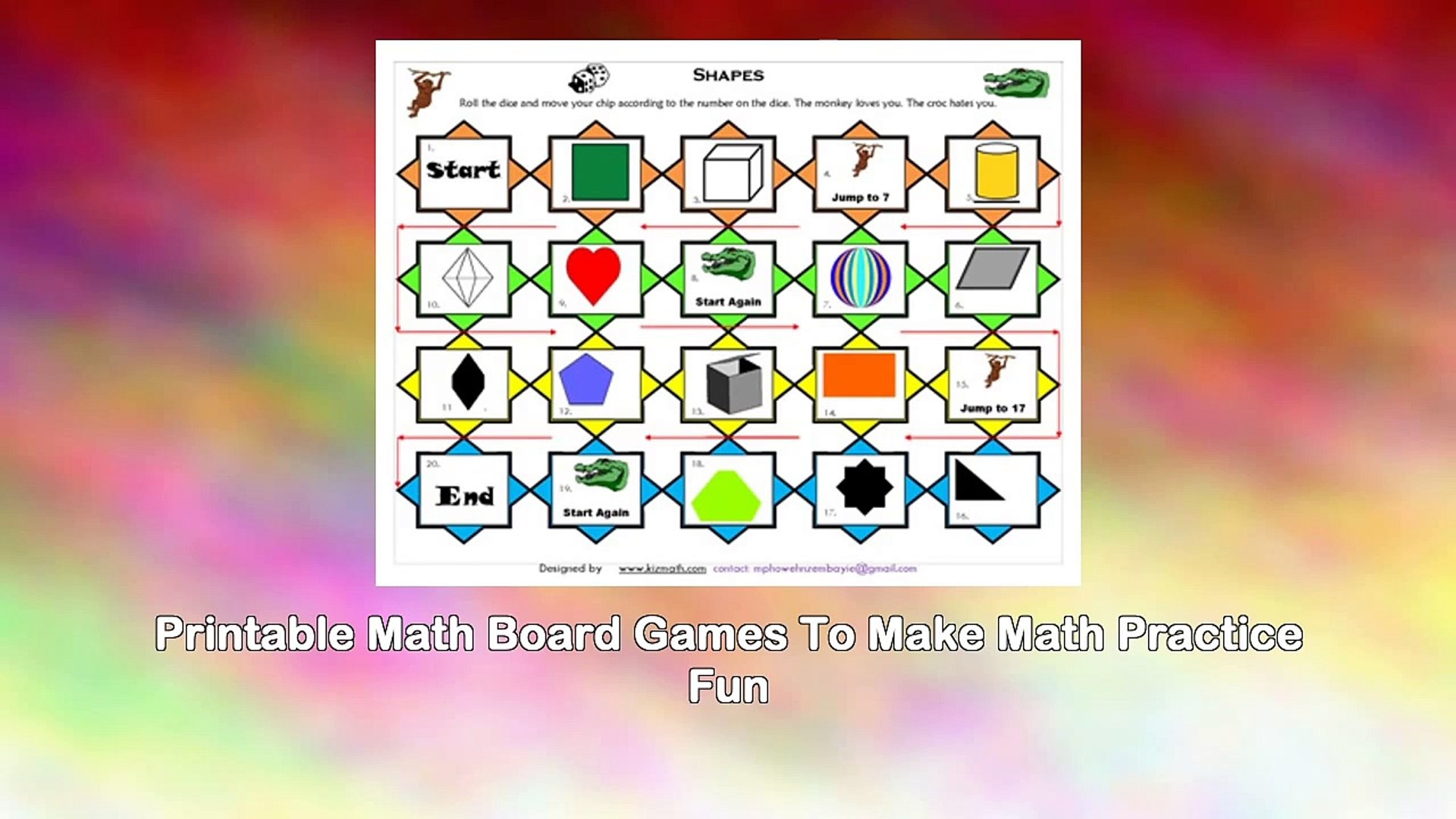 photo relating to Printable Math Board Games named The Math Board Video games Guide - Printable Math Video games