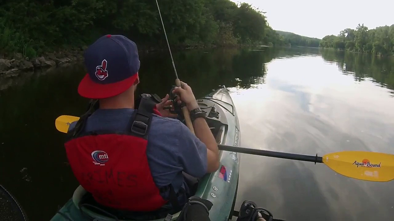 Kayak topwater bass fishing