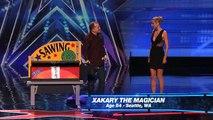 Xakary the Magician Heidi Klum Gets Sawed in Half America's Got Talent 2015