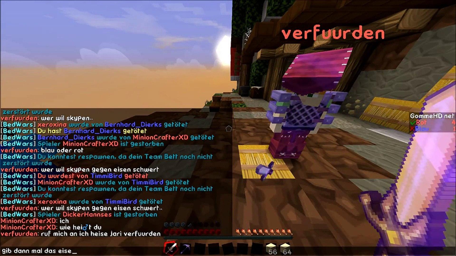 Minecraft Bedwars ☢ TEAMMATE GETROLLT !!!  ☢ MinionCrafter HD