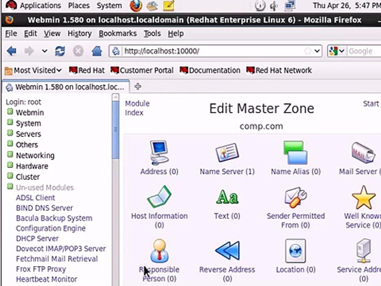 BIND (DNS) Configuration RH Linux E6 - Webmin