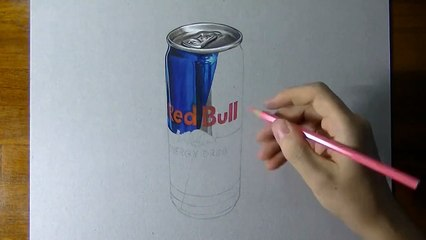 Red Bull can timelapse drawing