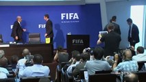 FIFA - Comedian Lee Nelson throws money at Sepp Blatter At Fifa Confrence