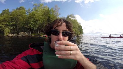 Drinking water straight from the lake