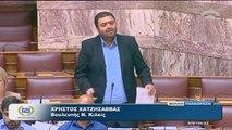"""Χατζησάββας στη Βουλή: """"Μνημονιακό νομοσχέδιο υπέρ των τραπεζών και των πολυεθνικών"""""""