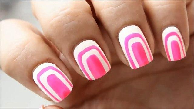 Cute Pink & White Nail Art Without using Tools | NO TOOLS Nail Design