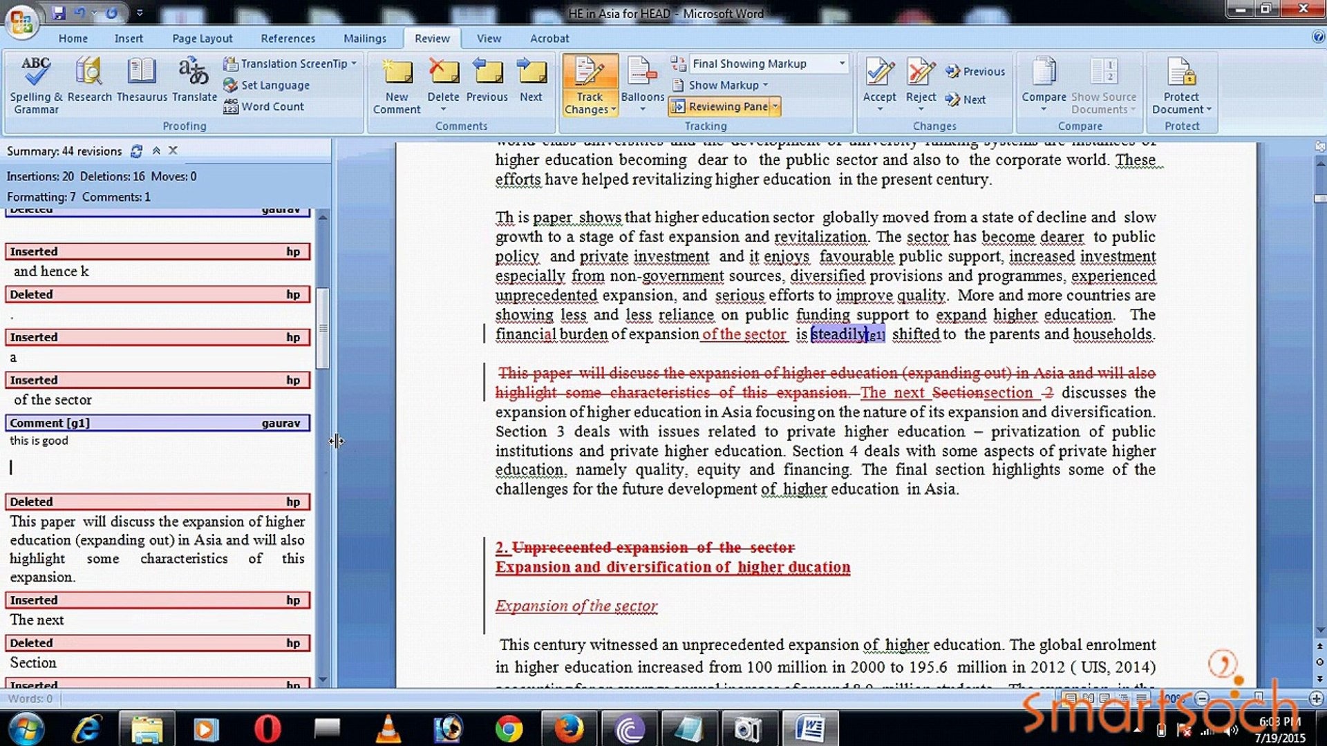 How to Edit Ms Words Document in Track Changes and Comment Tools In  Microsoft Office 2007