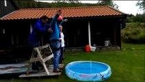 Faux saut à l'élastique pour un enterrement de vie de garçon