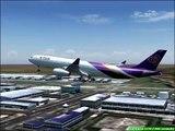Fs2004 Thai Airways A330-343X Landing Bangkok Suvarnabhumi Airport