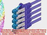 15m - CAT6a - Netzwerkkabel SET | violett - 5 St?ck | CAT 6a | S-FTP | doppelt geschirmt -