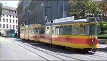 Basel Tram Station Bankverein mit BVB und BLT Wagen