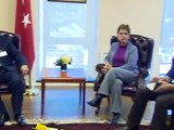 Davutoglu met the relased hostage Sarah Shourd, and the relatives of the hostages in Iran