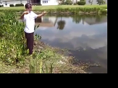 Danny Thomson Bass Catch Fishing with String, Hook, and Worm. Hand Fishing