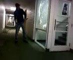 Breaking A Window in Cowden Hall, Northern Arizona University - NAU, Flagstaff