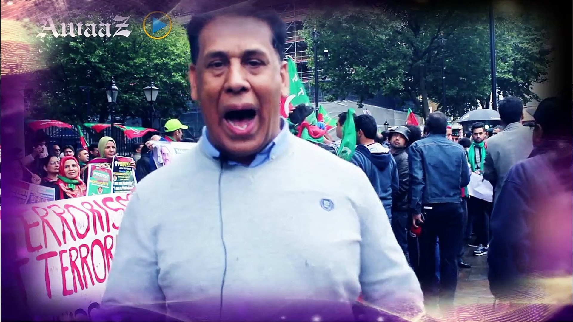 Chairman Pakistan Patriotic front UK,Tariq Mehmood protesting aganist MQM in front of 10 Downing str