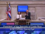 Laura Chinchilla, President of Costa Rica, visits the NYSE and rings the opening bell
