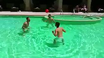 Sergio Ramos & Isco playing keepy-uppy headers in a pool during Real Madrid's pre-season tour