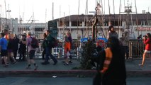 The Scary Bush Man (David Johnson - World Famous Bushman) at Fisherman's Wharf in San Francisco