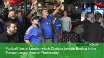 Chelsea fans in London celebrate Europa League final at the pub
