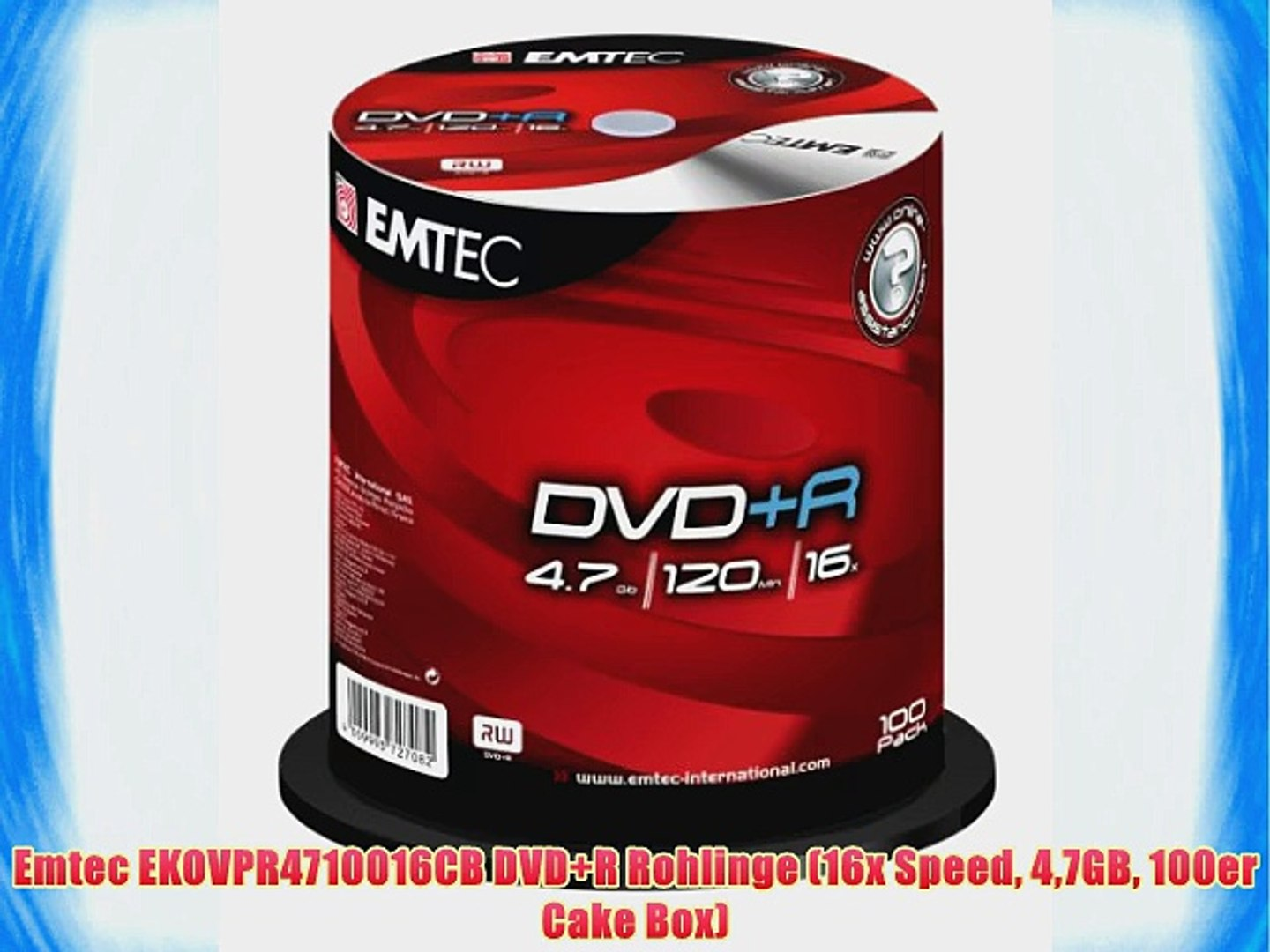 picture relating to Printable Dvd Rohlinge identified as Emtec EKOVPR4710016CB DVD R Rohlinge (16x Rate 47GB 100er Cake Box)