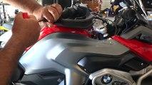 Lidlox grip tip helmet lock installation on a BMW R1200 GS