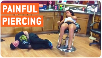 Girl Getting Piercing Punches Worker in Nuts