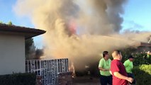 Man rescued from burning Fresno home