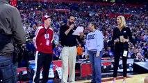 Badgers fan Loren Homb of Monroe falls to Duke fan in Final Four trivia