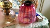 Finger lamp Queen anne, Ehrich & Graetz 20''' oil lamp with Victorian shade